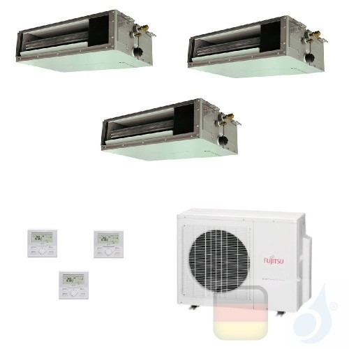 Fujitsu Trio Split 7+7+12 Ducted AOYG24KBTA3 ARXG07KSLAP ARXG07KSLAP ARXG12KSLAP Klimaanlage KS Mini R-32 Kanaleinbaugeräte A...