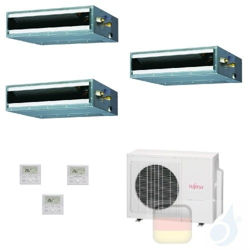 Fujitsu Trio Split 7+7+9 Ducted AOYG18KBTA3 ARXG07KLLAP ARXG07KLLAP ARXG09KLLAP Klimaanlage KL Kompakt R-32 Kanaleinbaugeräte...