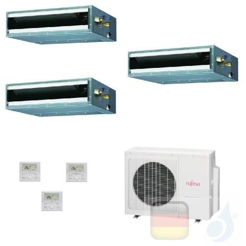 Fujitsu Trio Split 12+12+12 Ducted AOYG24KBTA3 ARXG12KLLAP ARXG12KLLAP ARXG12KLLAP Klimaanlage KL Kompakt R-32 Kanaleinbauger...