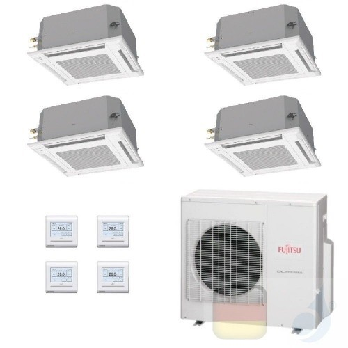 Fujitsu Quadri Split 9+9+9+12 Kassette AOYG30KBTA4 AUXG09KVLA AUXG09KVLA AUXG09KVLA AUXG12KVLA Klimaanlage Kassettengerät AUX...
