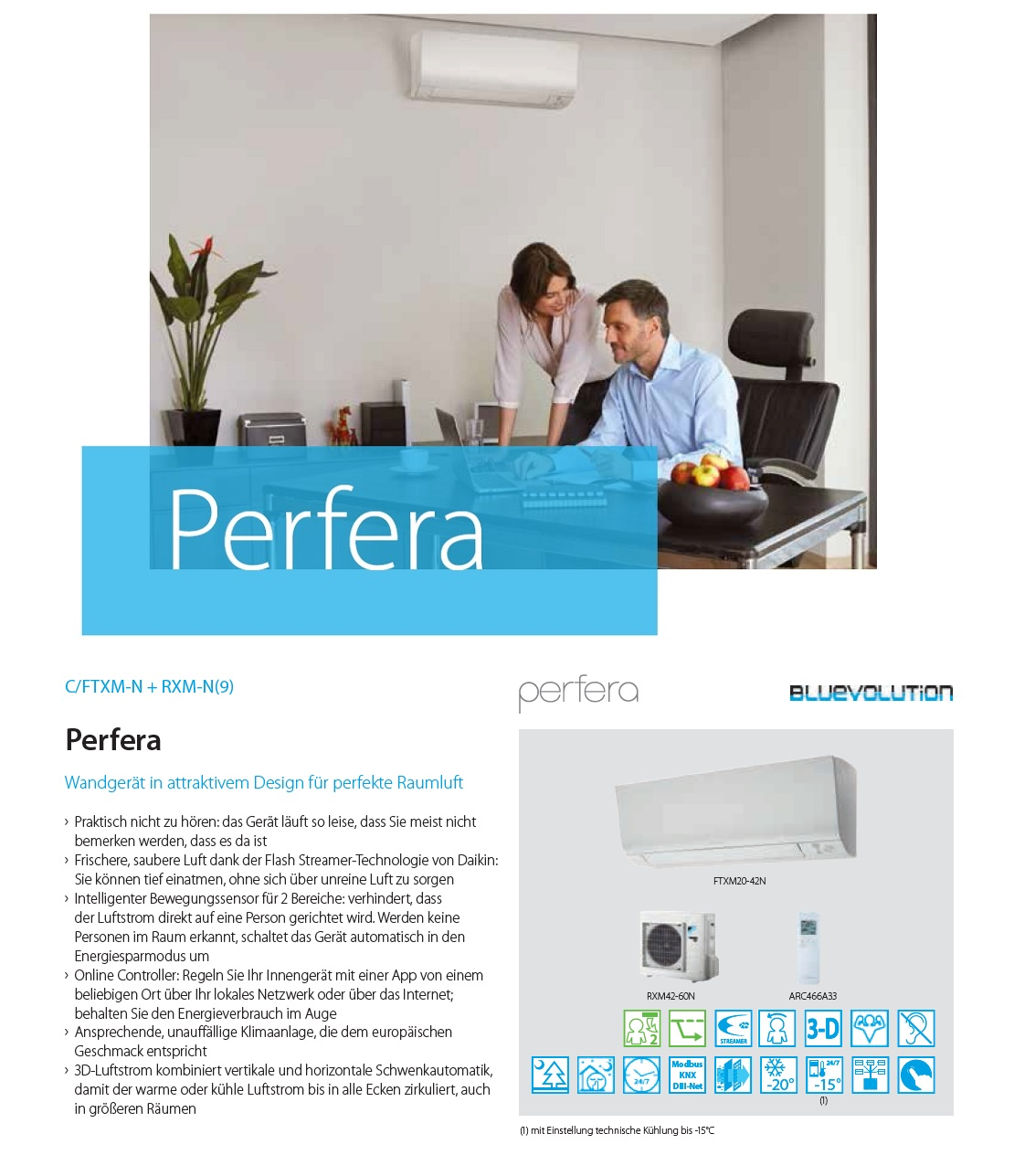 Klimaanlagen Daikin Duo Split 7000+15000 Perfera FTXM-N A+++/A++