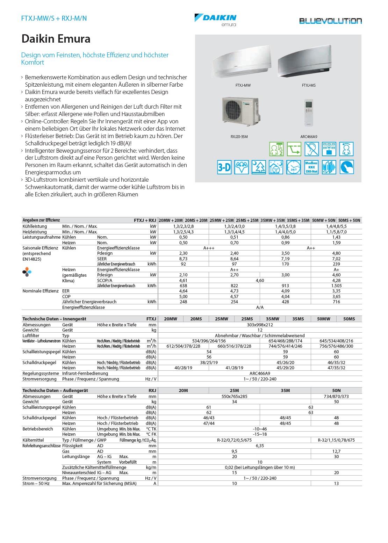 Klimaanlagen Daikin Mono Split 9000 Btu Serie Emura FTXJ-MS A+++/A++