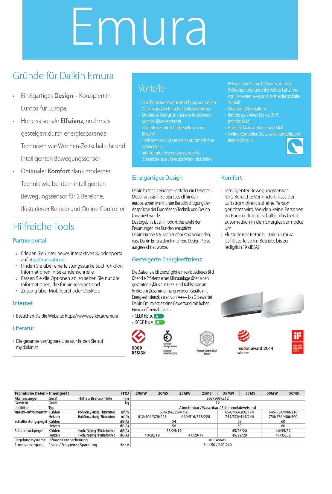 Klimaanlagen Daikin Duo Split 7000+12000 Btu Emura FTXJ-MW A+++/A++