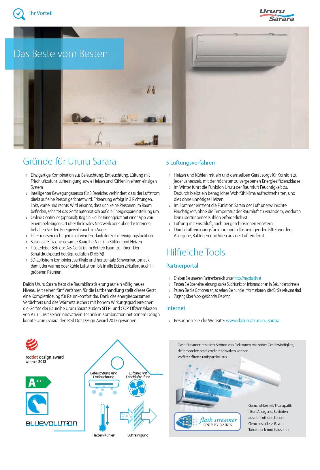 Klimaanlagen Daikin Mono Split 12000 Ururu Sarara FTXZ-N A+++/A+++