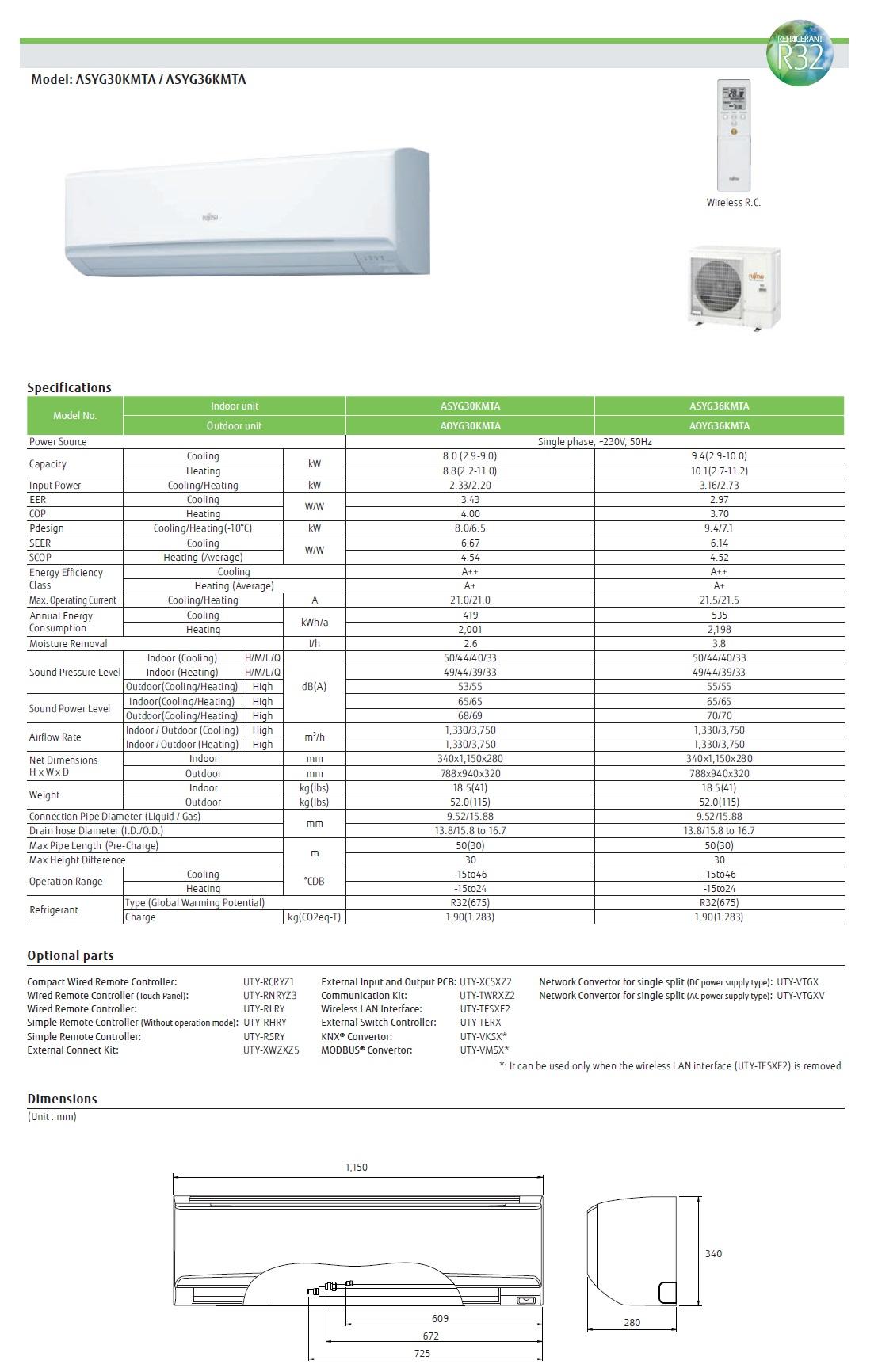 Klimaanlage Fujitsu Mono Split 36000 Btu ASYG36KMTA AOYG36KMTA