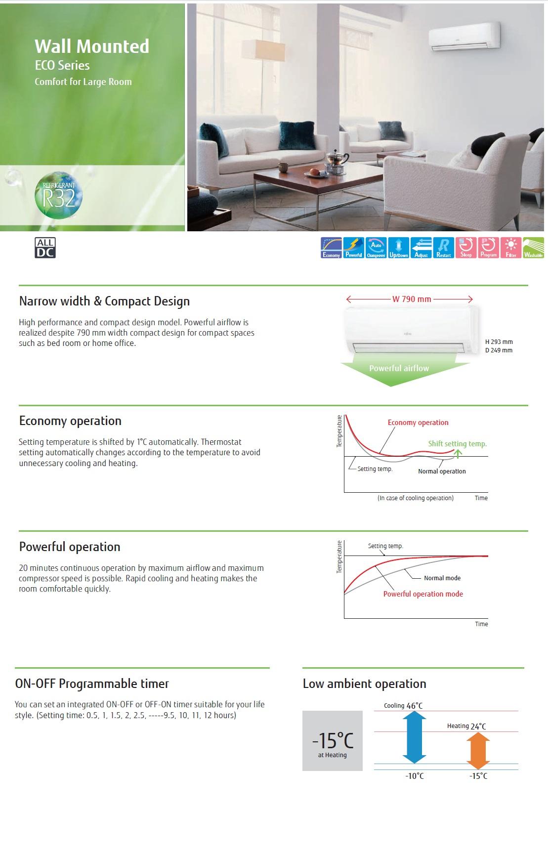 Klimaanlage Fujitsu Mono Split 24000 Btu ASYG24KLCA AOYG24KLTA