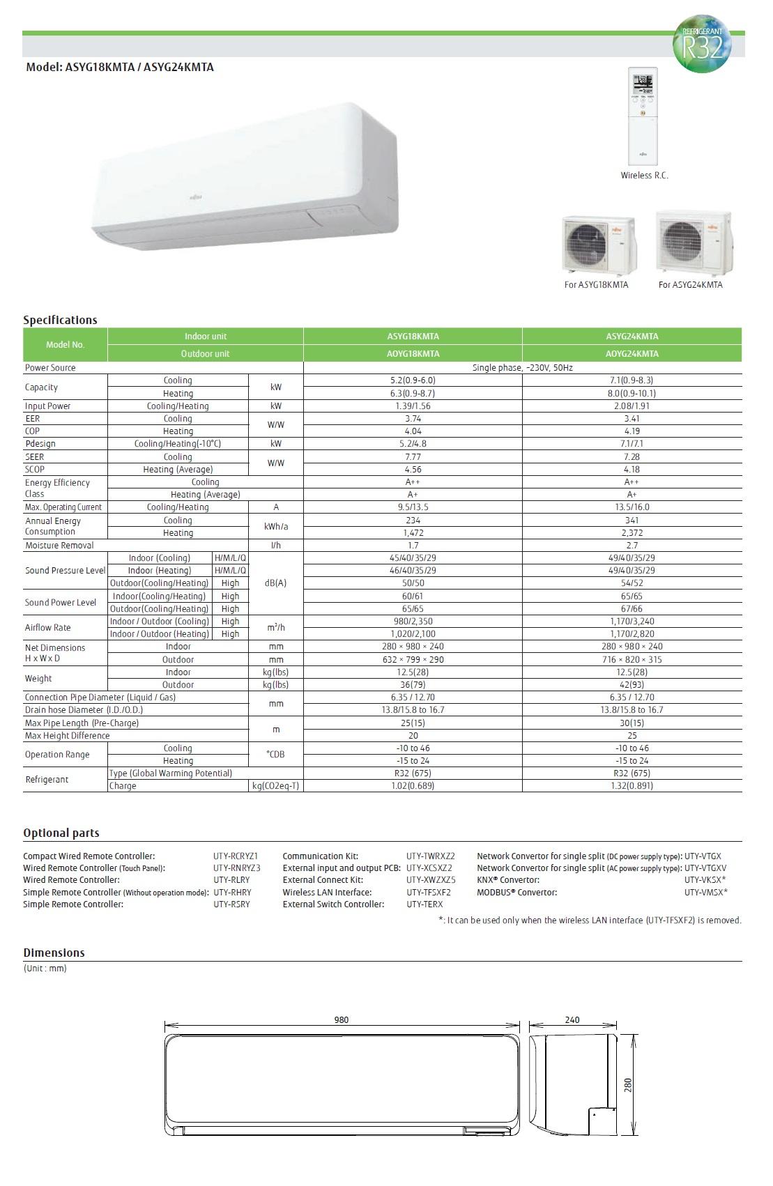 Klimaanlage Fujitsu Mono Split 24000 Btu ASYG24KMTA AOYG24KMTA