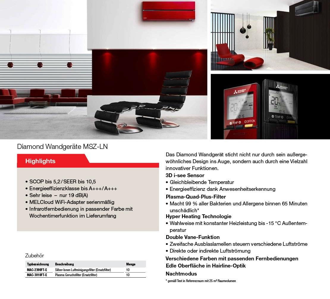 Klimaanlagen Mitsubishi Mono Split 9000 Btu Weiß Strahlend A+++/A+++
