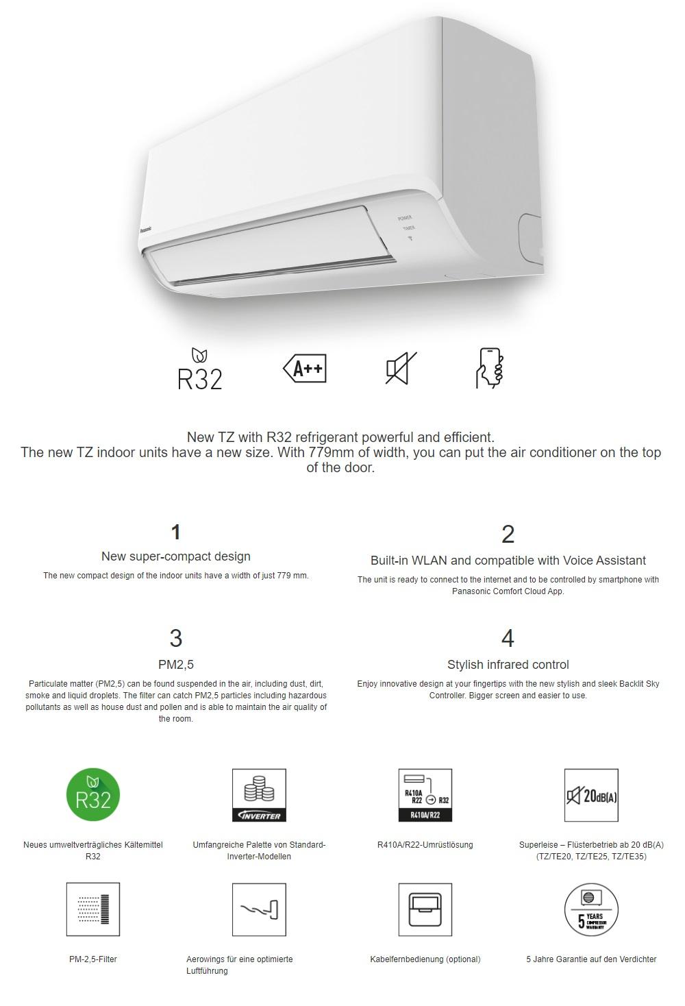 Klimaanlagen Panasonic Mono Split 7000 Btu Serie TZ A++/A++ WiFi
