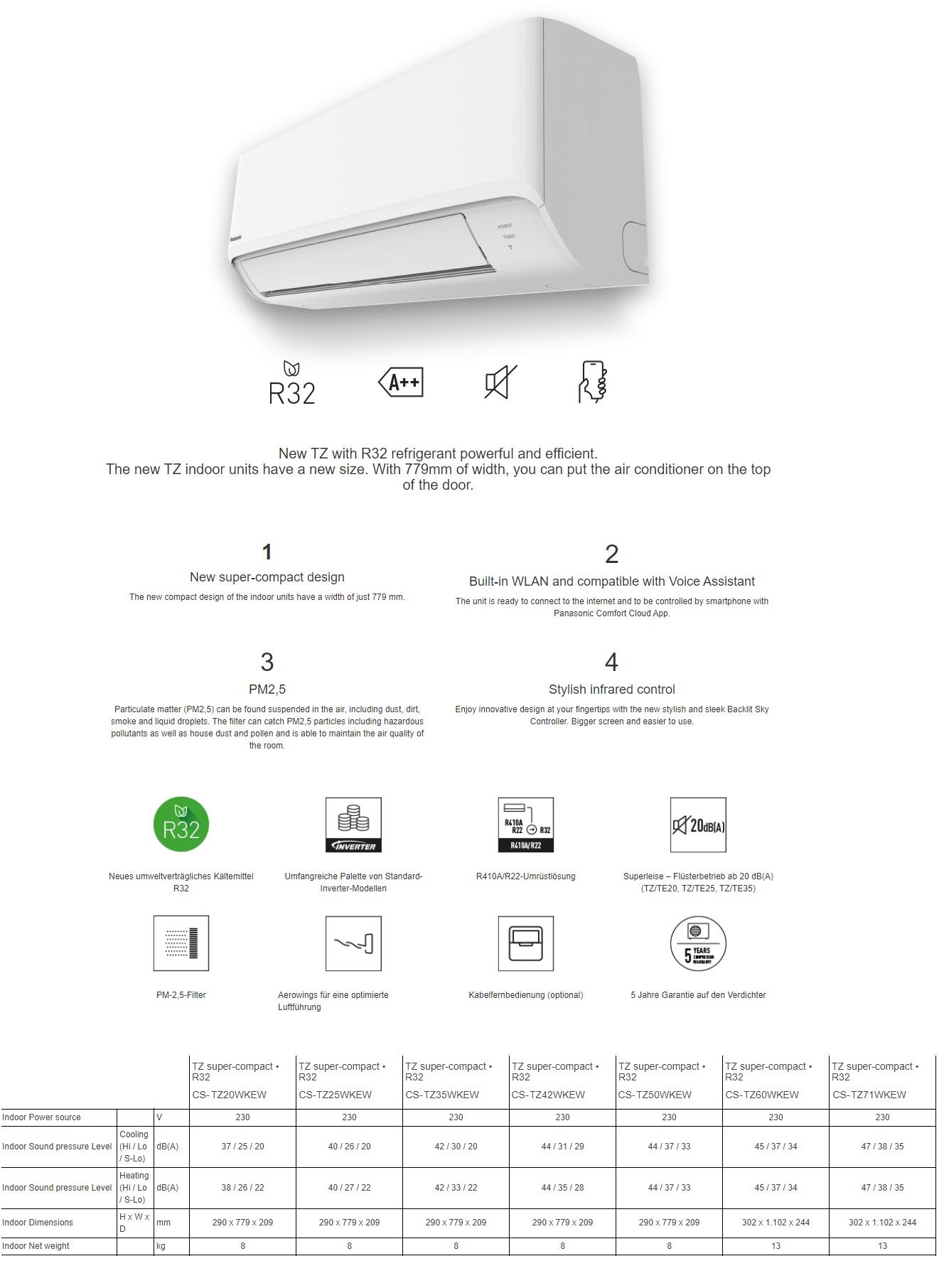 Klimaanlagen Panasonic Dual Split 7000+7000 TZ Kompakt CU-2Z41TBE