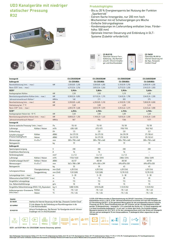 Klimaanlagen Panasonic Mono Split 12000 Btu CS-Z35UD3EAW CU-Z35UBEA