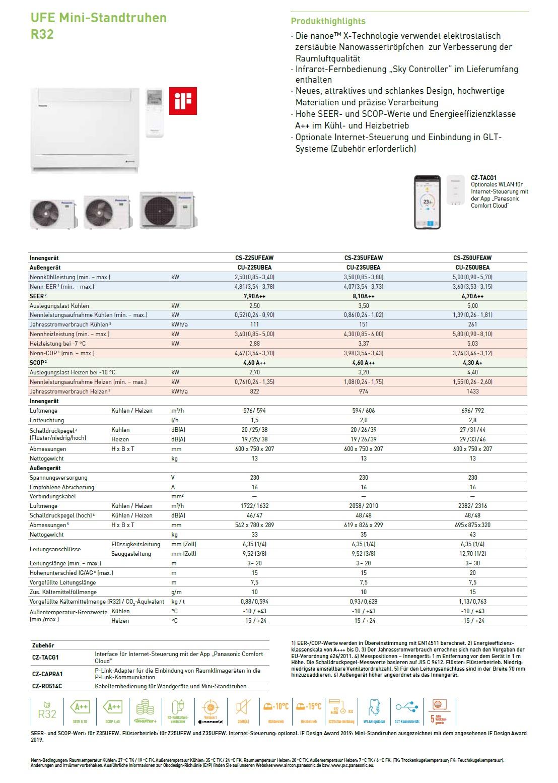 Klimaanlagen Panasonic Mono Split 18000 Btu CS-Z50UFEAW CU-Z50UBEA