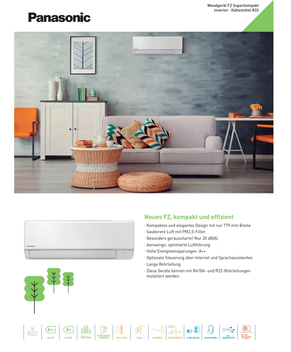 Klimaanlagen Panasonic Mono Split 12000 Btu Serie FZ A++/A+