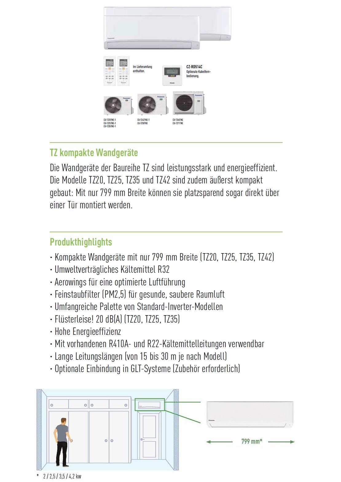 Klimaanlagen Panasonic Mono Split 7000 Btu Serie TZ A++/A++