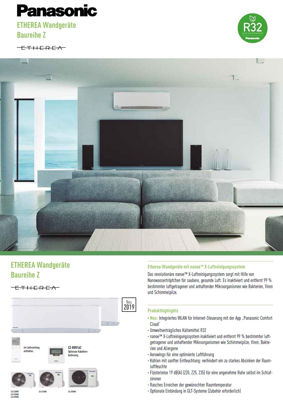 Klimaanlagen Panasonic Mono Split 7000 Btu Serie Z Etherea A+++/A+++