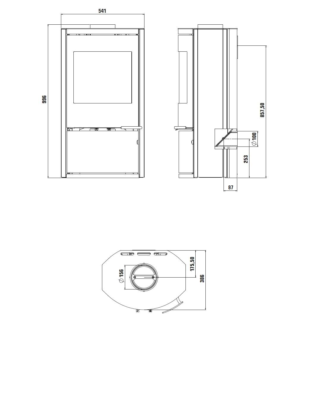 Holzofen Ravelli 8 kW CALLIOPE metal Schwarz